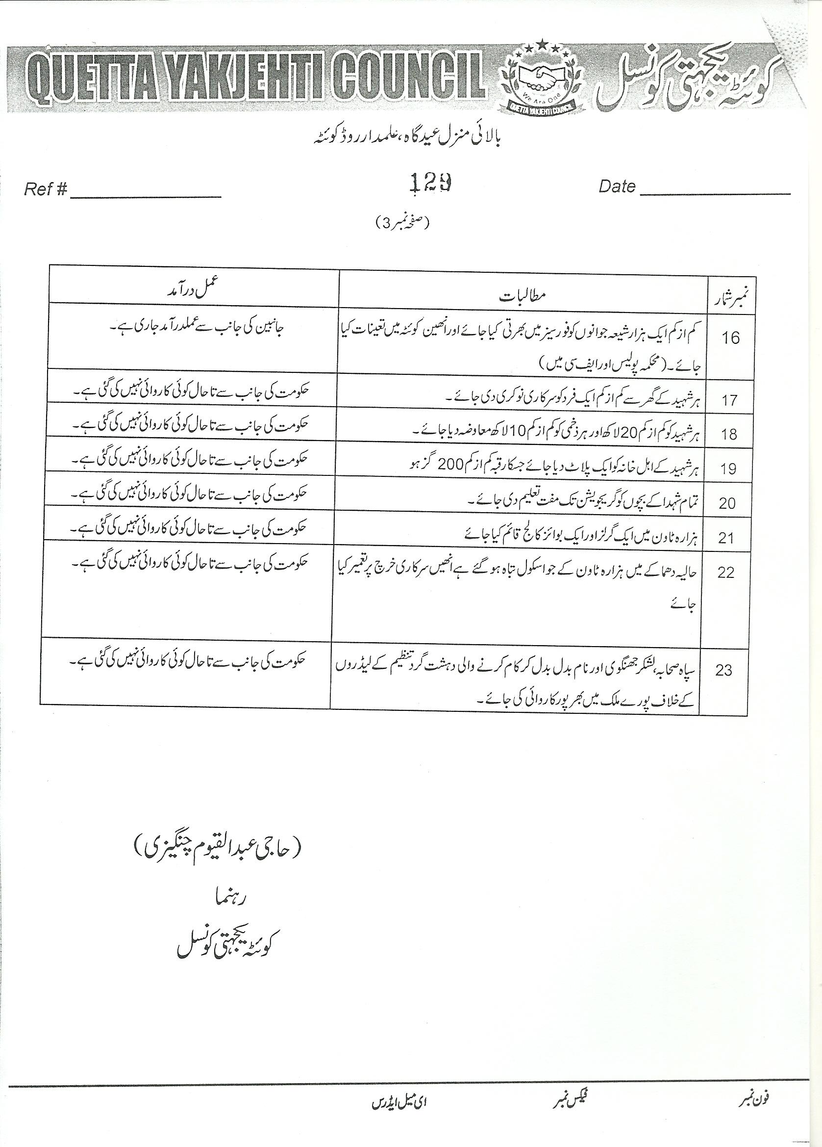 مطالبات ہزارہ برادری کوئٹہ